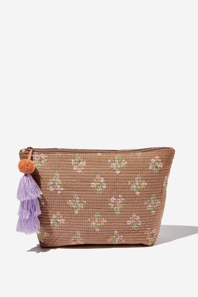 Large Pouch, LUCY HANDKERCHIEF FLORAL COCOA BEAN