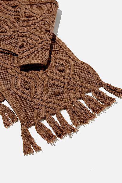 Heritage Knit Scarf, COCOA BEAN INTARSIA CABLE KNIT