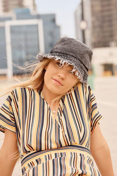 Bella Bucket Hat, BLACK/DENIM
