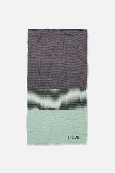 Personalised Bondi Rectangle Towel, LUSH GREEN COLOUR BLOCK