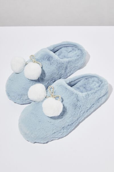 The Novelty Scuff Slipper, BLUE POM POM