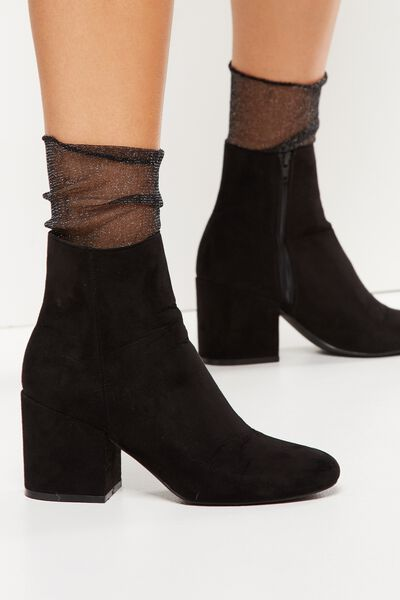Sienna Slouchy Sheer Sock, BLACK METALLIC
