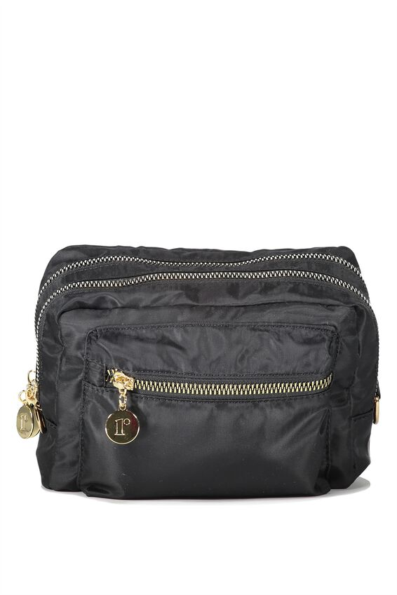 Budapest Large Cosmetic Case, BLACK W/GOLD