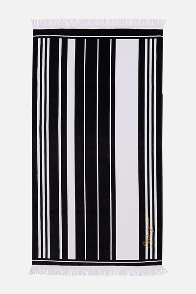 Personalised Rectangle Towel, B&W VERTICAL STRIPE