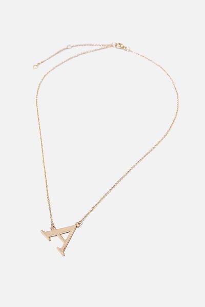 Tilted Letter Necklace, GOLD A