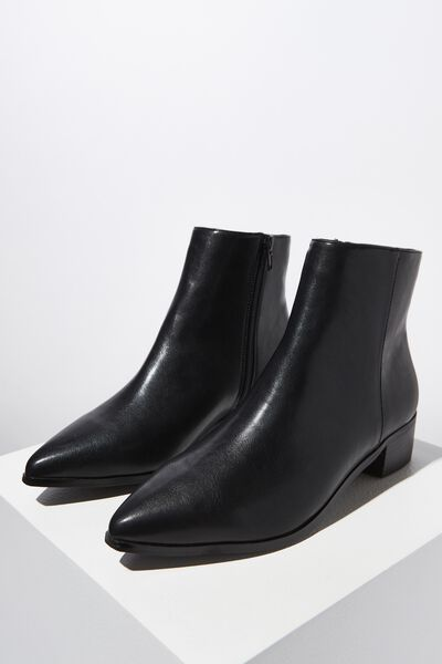 Phillips Pointed Boot, BLACK SMOOTH