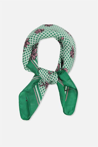 Soho Satin Scarf, GREEN GINGHAM FLORAL