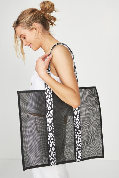 Mesh Tote, BLACK W/ANIMAL