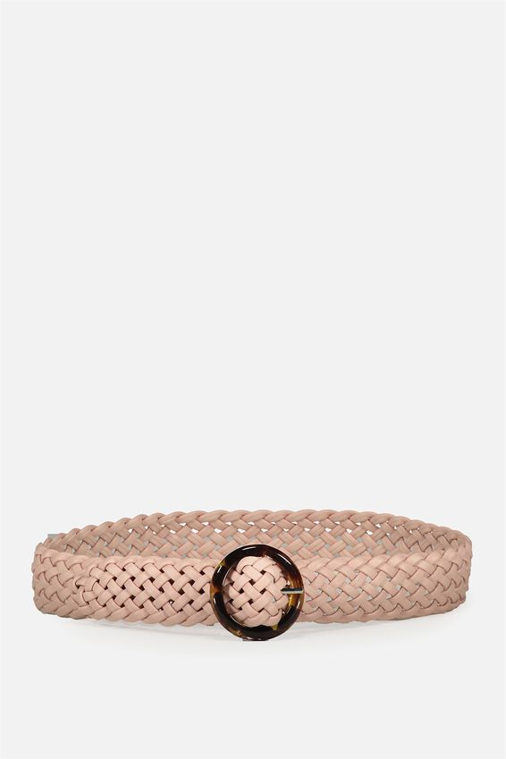 Woven Tort Buckle Belt, BLUSH