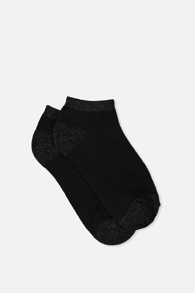 Get Shorty Ankle Sock, BLACK METALLIC TIPPING