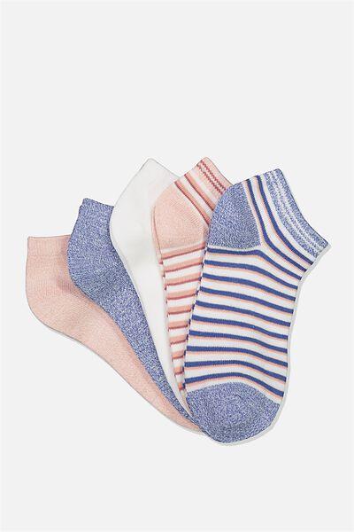 5Pk Ankle Sock, MISTY ROSE STRIPE