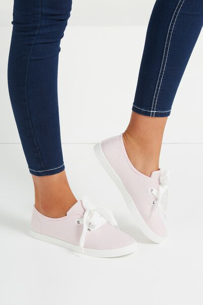 Indy Bow Plimsoll, PINK STRIPE