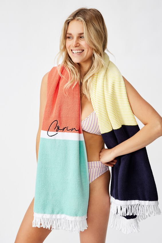 Personalised Rectangle Towel, BRIGHT BOLD STRIPE
