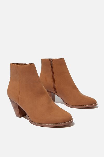 Isabelle Heeled Ankle Boot, TAN NUBUCK
