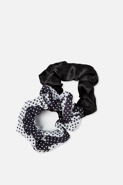 2Pk Scrunchie, BLACK STAIN/BLACK TWO TONE SPOT