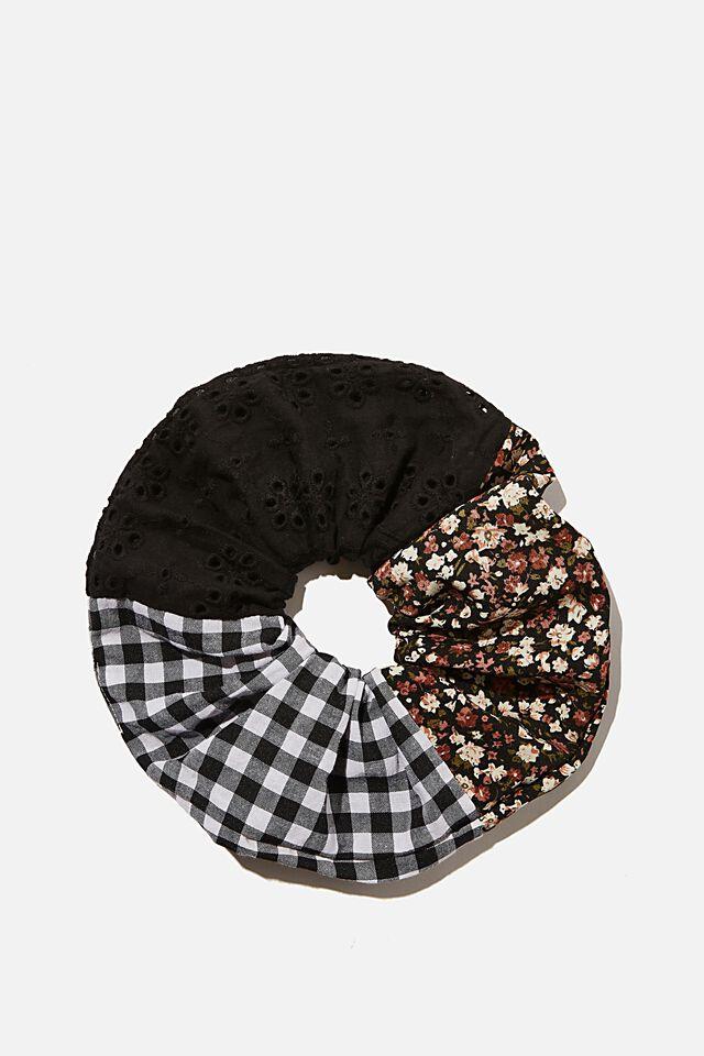 Patchwork Super Scrunchie, BLACK FLORAL