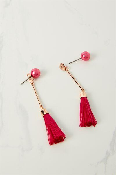 Pearl Single Tassel Earring, VIVACIOUS