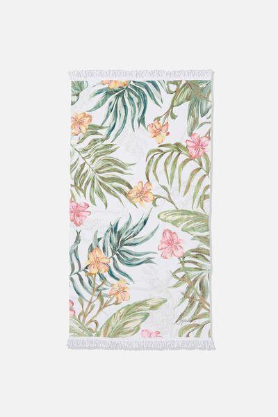 Personalised Bondi Rectangle Towel, WHITE TROPICAL