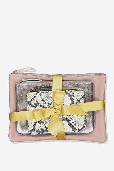 Maci 3 Piece Cosmetic Case Set, ROSE GOLD