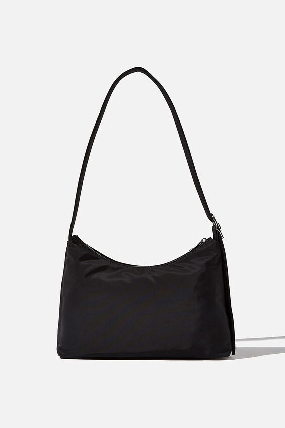 Britt Buckle Slouch Bag, BLACK