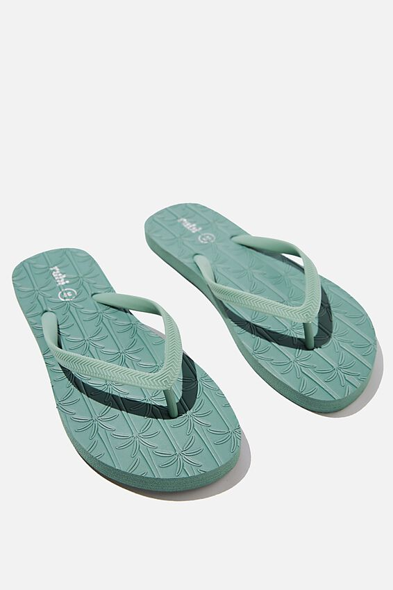 The Rubi Flip Flop, GREEN PALM EMBOSSED