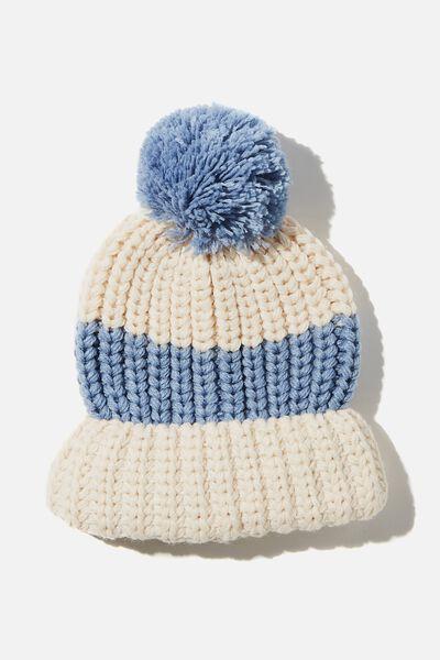 Chunky Knit Pom Pom Beanie, COASTAL BLUE/SANDSTONE STRIPE