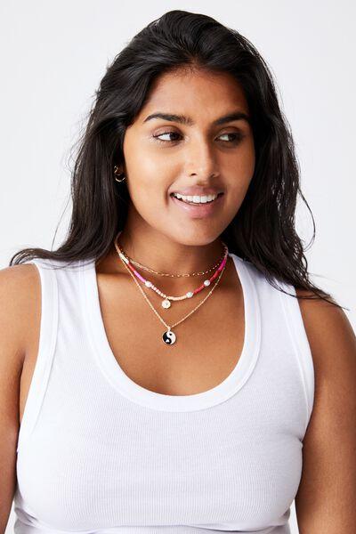 Holiday Beachcomber Layered Necklace, YIN & YANG
