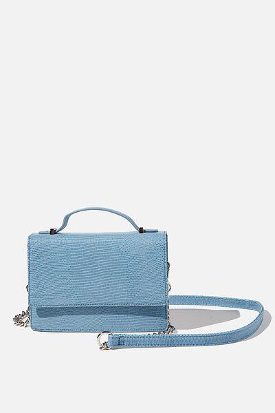 Aria Chain Strap Cross Body Bag, VINTAGE BLUE TEXTURE