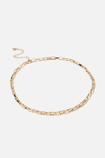 Luxe Layers Box Chain Necklace, GOLD
