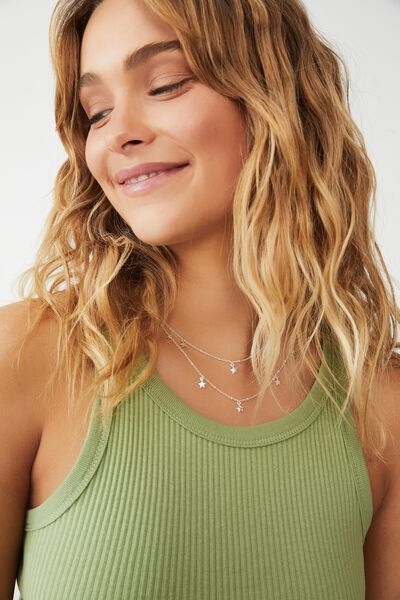 Premium Layered Necklace, STERLING SILVER PLATED STARS