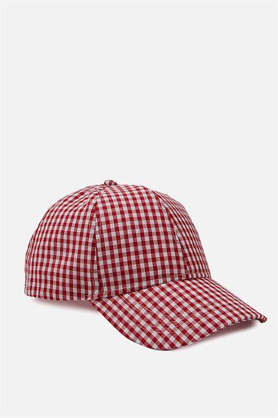 Nancy Cap, RED/WHITE GINGHAM