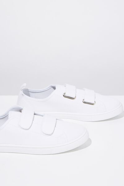 Isabelle Double Strap Plimsoll, WHITE TWILL