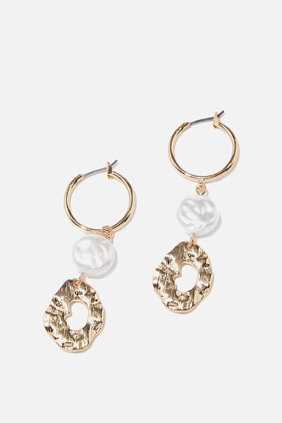 Luxe Layers Molten Pearl Drop Hoop, GOLD