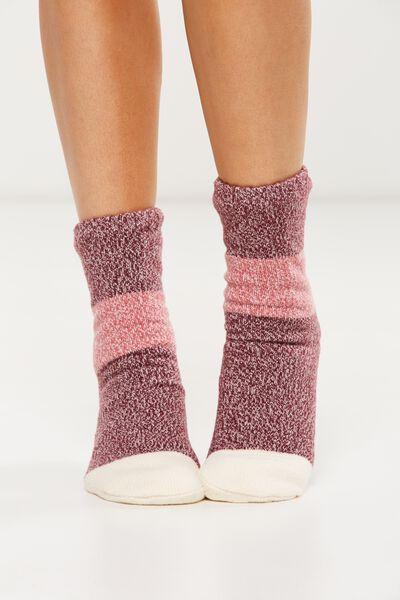 Loungin Round Sock, BRICK HUES COLOUR BLOCK