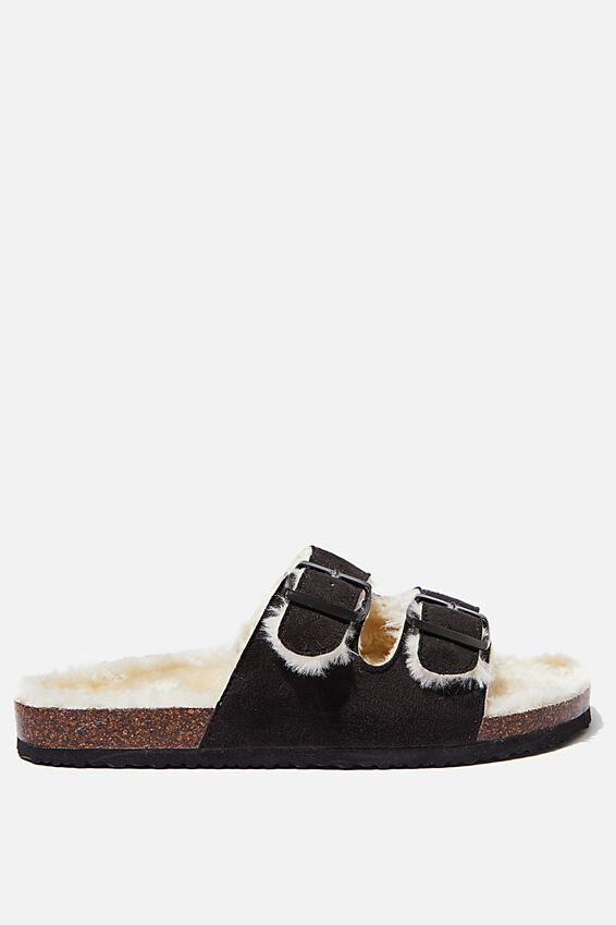 Rex Faux Fur Double Buckle, BLACK/CREAM