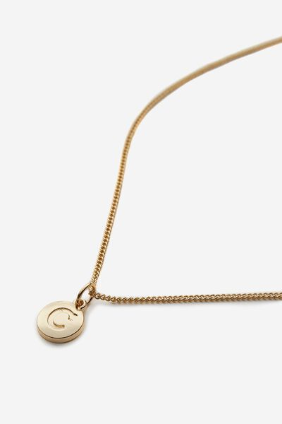 Letter Charm Necklace, GOLD C