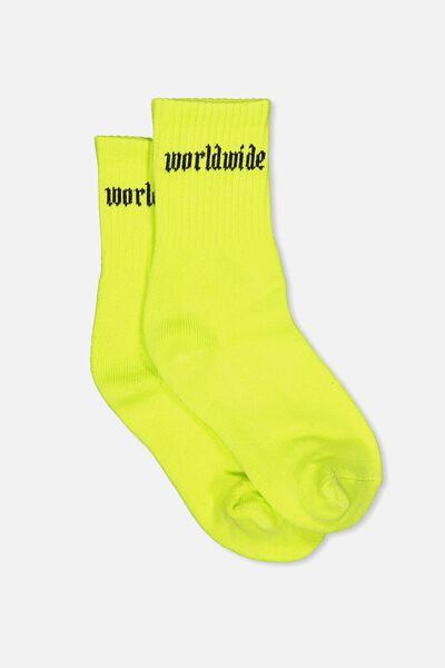 Sporty Stripe Crew Sock, LIMEADE/WORLD WIDE