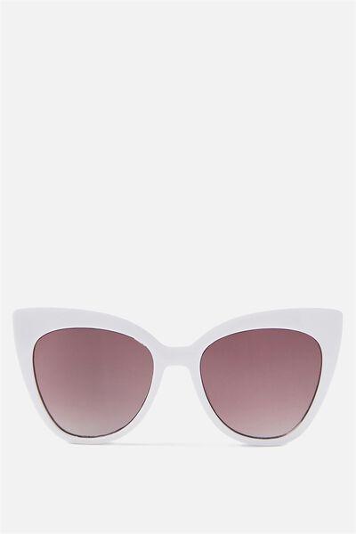 Whitney Cat Eye Sunglasses, WHITE/SMOKE