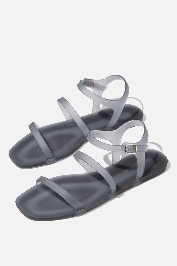 Triple Strap Jelly Sandal, BLACK