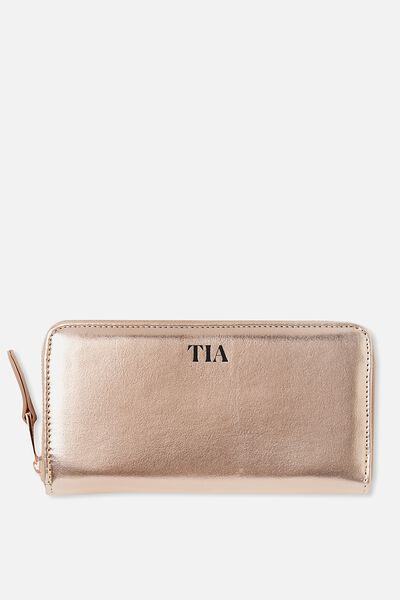 Personalised Audrey Zip Around Wallet, ROSE GOLD