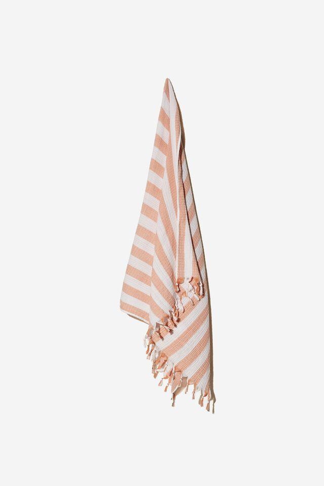 Whitehaven Lightweight Towel, HONEY PINK AWNING STRIPE