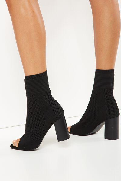 Beastie Knit Sock Boot, BLACK