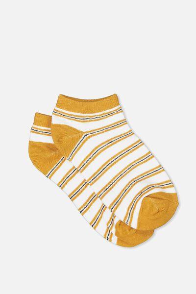 Get Shorty Ankle Sock, MUSTARD STRIPE