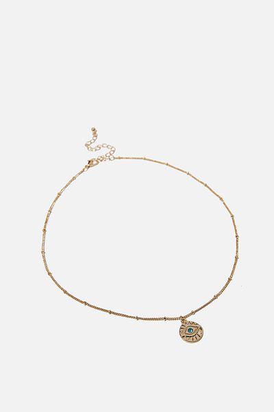 Treasures Short Pendant Necklace, GOLD EVIL EYE