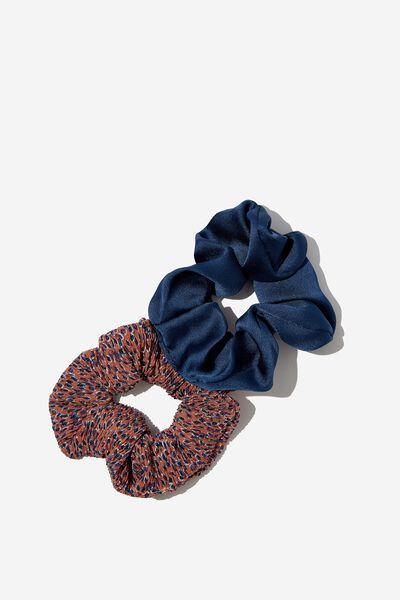 2Pk Scrunchie, TERRACOTTA PLEATED FLORAL