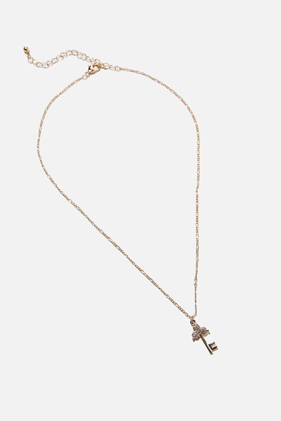 Keepsake Pendant Necklace, ANTIQUE KEY GOLD DIAMANTE