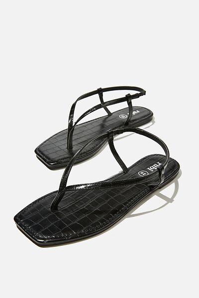 Everyday Maddie Toe Post Sandal, BLACK CROC PU/BLACK