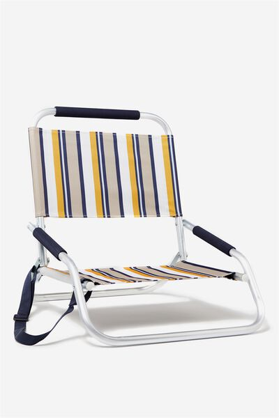 Lay Low Beach Chair, RUST NAVY STRIPE