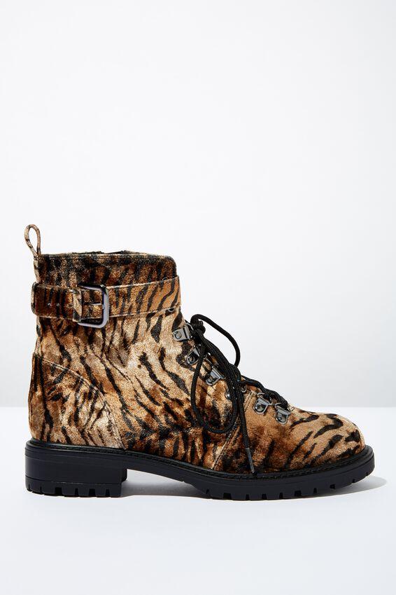 Hariette Lace Up Boot, TIGER VELVET