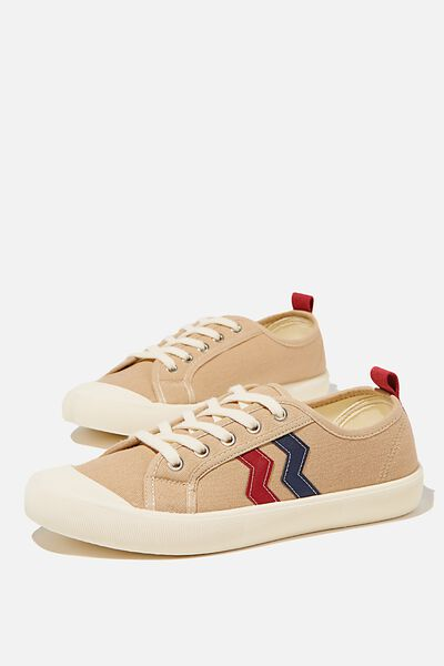 Demi Lace Up Plimsoll, TAUPE NAVY RED STRIPE